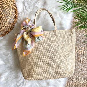 GAP Straw Jute Leather Handle Tote Bag
